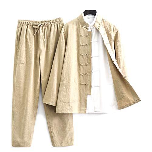 ZHOUXIAO Algodón de algodón Tai chi Uniforme Hombres Kung fu Vestido de Manga Corta Ropa Tradicional China Que Incluye Camisas, Pantalones, Chaquetas, Traje Tang Hanfu Martia Yellow-XXXL