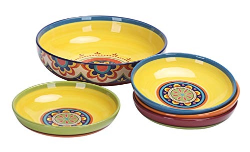 Bico Tunisian Ceramic Pasta Bowl, Set Of 5 For Pasta And Salad.