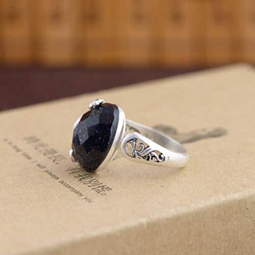 WOZUIMEI Chinesischer Stil Ring Schmuck S990 Reinen Silber Ring Eingelegt Sand Kristall Stein Schmuck Thai Silber Antiken Markasit Pfau GeschenkRing
