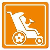 imoninn ベビーカー バギーサイン 子供用障害者マーク 障害児マーク 【マグネットタイプ】 車いすサイン・福祉車両用 (オレンジ色)