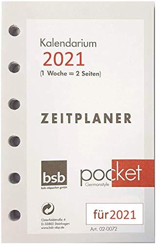 bsb 0072 Timeplaner A7 Kalendarium 1 Woche auf 2 Seiten für Jahr 2021