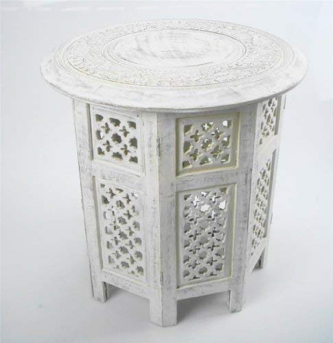 topfurnishing Beautiful Round Brown Hand Carved Indian Shesham Wooden Coffee Table Side (White, Large 18'x18'x18')