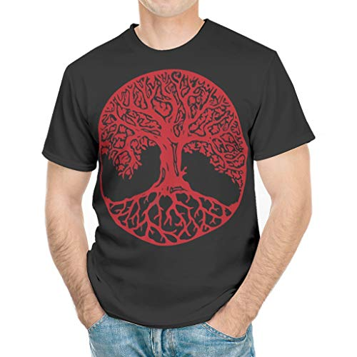 Yggdrasil Kamon Ultraweich Mehrere Muster Kurzarm T-Shirt Top für Vater Mutter Onkel Großvater Viking White 3X-Large