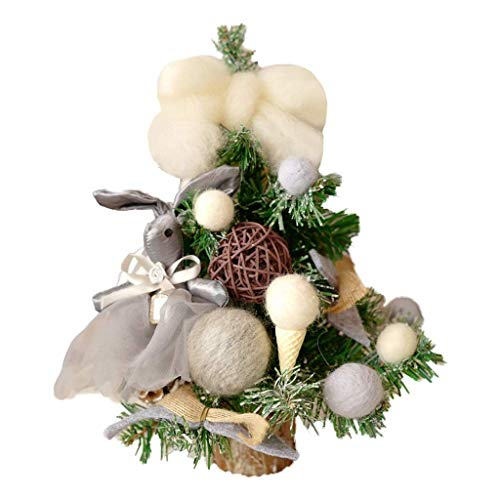 FGVBC Artificial Bonsai Tree Home Mini Christmas Tree Includes Grey Plush Bunny And Ice Cream Decorations Green Desktop Spruce With Wooden Base Christmas Window Decorations Faux Potted Plant