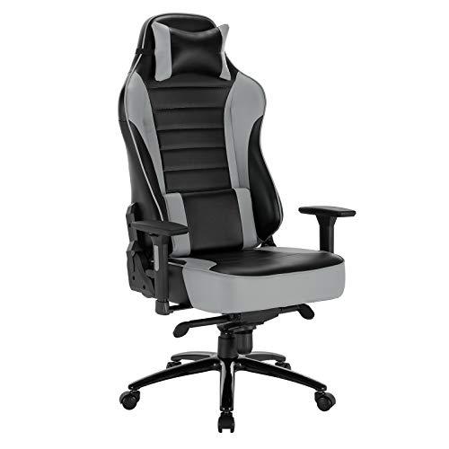WOLTU BS70gr Gaming Stuhl Racing Stuhl Bürostuhl ergonomischer Schreibtischstuhl mit Kopfkissen und Lendenkissen mit Wippfunktion mit hoher Rückenlehne höhenverstellbar PC Stuhl Kunstleder Grau