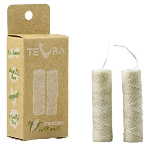 Biologisch abbaubare Zahnseide-Nachfüllpack von TEVRA - Veganes Zahnseide-Nachfüllpack mit erfrischendem Minze und Ingwer Geschmack - Enthält 2x30m-Nachfüllung