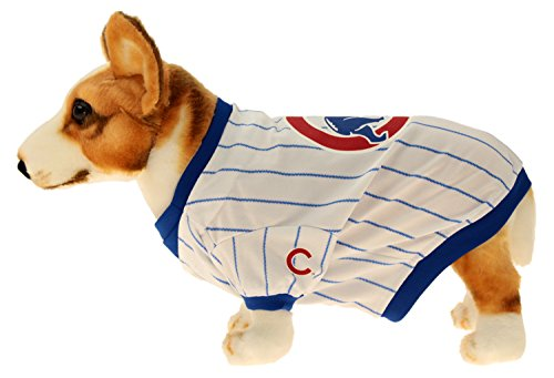 Sporty K9 MLB Baseball Striped Dog Jersey, Chicago Cubs Small