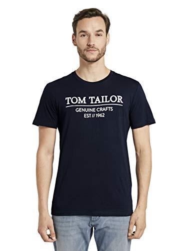 TOM TAILOR Herren Basic Logo-Print T-Shirt, 10668-Sky Captain Blue, XXXL