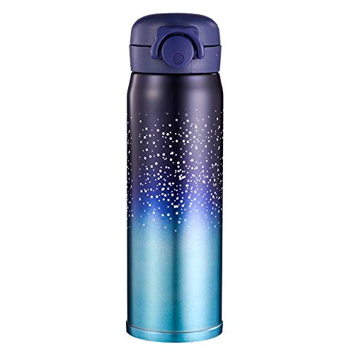 Water Bottle Thermoses Starry Sky, Thermal Vacuum Cups for Hot and Cold Drinks, BPA Free Stainless Steel Insulated Leak-proof Flask for Boys and Girls School Kids Indoor Outdoor Sports(17 oz Blue)