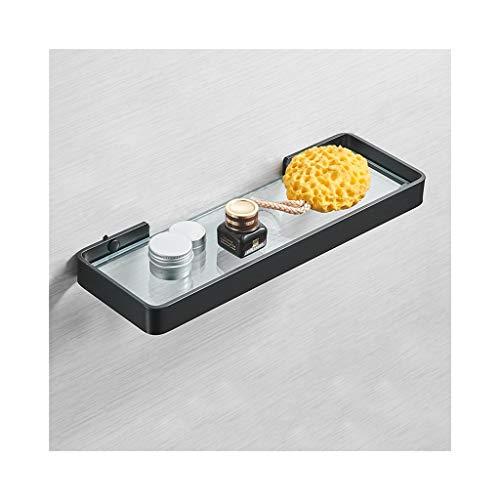 WZNING Estante de cristal templado para baño, montado en la pared, espacio de aluminio negro, barniz para hornear (tamaño 25 cm)