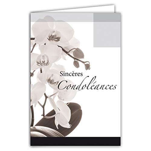 Afie 64-1047 Carte Sincères Condoléances Fleurs Orchidées Blanches Gris Noir Deuil décès