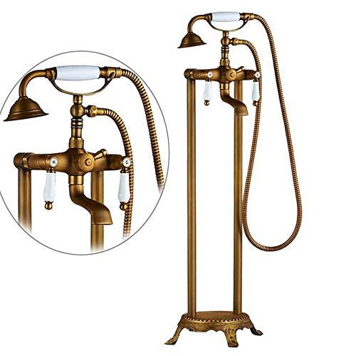 DAMO&GUYAN waterkraan voor wastafel en badkamer, met vloermontage in goud, badkuipkraan met dubbele greep, mengkraan voor badkuip van
