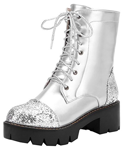 Mofri Women's Stylish Sequins Block Medium Heel Platform Short Martin Boots Round Toe Lace up Ankle Booties (Silver, 10 B(M) US)