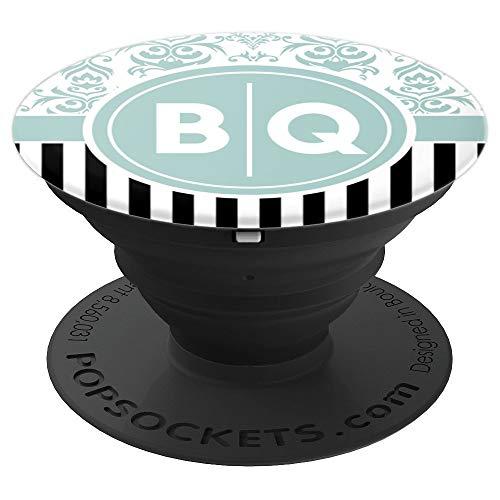 Buchstaben BQ Initialen mit Blauem Damast Monogramm BQ - PopSockets Ausziehbarer Sockel und Griff für Smartphones und Tablets