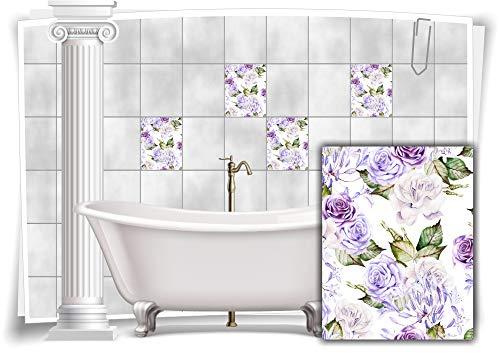 Medianlux Pegatinas para azulejos con diseño de flores y hojas de nostalgia, color azul, 8 unidades, 15 x 20 cm, m13m167h-140983