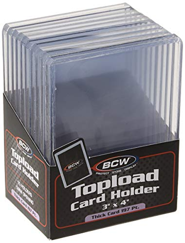 BCW (10) Brand Extra Super Thick Card Top Load for Baseball Cards (3 X 4 X 5 mm - Thick Card Topload Holder 197 Pt)