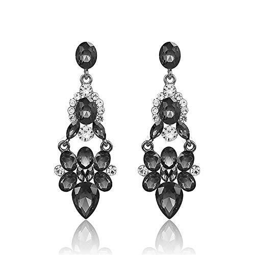 Presock Pendientes Mujer,Aretes Full Of Crystal Drop Earrings For Women Vintage Brincos Pendientes Zinc Alloy Lead Free Nickel Free gray