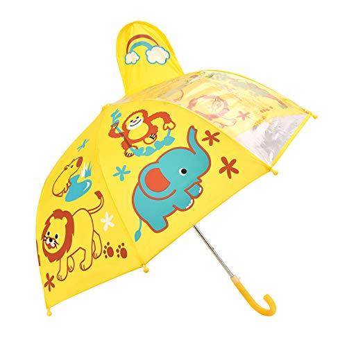 Kinder Regenschirm, Rainbrace Kinderschirm regnerischen Tag für Jungen und Mädchen mit Sichtfenster Panel, Vogel und Blume, gelb