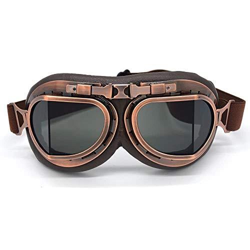 evomosa Motocross-Schutzbrille, Steampunk Vintage Aviator Pilot Stil Motorrad Cruiser Roller Goggle Biker Racer Cruiser Touring Half Helm Brille (Copper, Smoke)