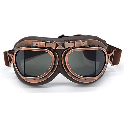 evomosa Motorcycle Goggles Vintage Pilot Style Cruiser Scooter Goggle Outdoor Sand Goggles Bike Racer Cruiser Touring Eyewear for Half Helmet
