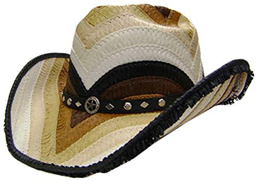 Modestone Unisex Shades of Retro Chapeaux Cowboy Fuzzy Straw Fringe Brown