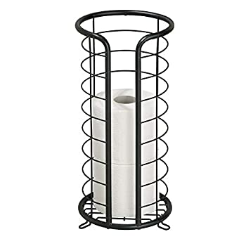 mDesign Decorative Metal Free Standing Toilet Paper Holder Stand with Storage for 3 Rolls of Toilet Tissue - for Bathroom/Powder Room - Holds Mega Rolls - Matte Black