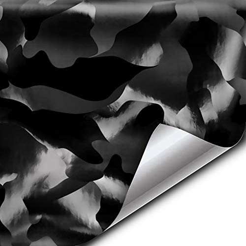 VViViD+ 2020 Edition Black Stealth Large Sized Pattern Camouflage Vinyl Car Wrap Roll (1ft x 5ft) Self Adhesive Film Air Release Technology, Scratch Resistance, Protective Liner, Bubble-Free