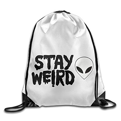 Etryrt Premium Drawstring Bag, Unisex Drawstring Bags Stay Weird Lettering UFO Aliens Sports Sackpack Backpack