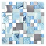 Sea Blue Green Glass Stainless Steel Tile White Kitchen Bath...