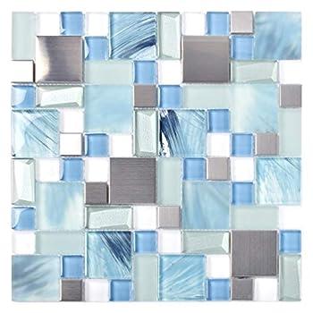 Sea Blue Green Glass Stainless Steel Tile White Kitchen Bath Backsplash Artistic Mosaic TSTMGB028  Box of 10 Square Feet