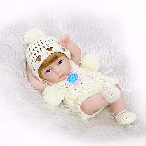 Sangmei 11 polegadas Bonecas Reborn Baby Doll Play Full Vinvl Corpo Lavável Com CLONOS Lifelike Bonitos Meninas Presentes Brinquedo Branco