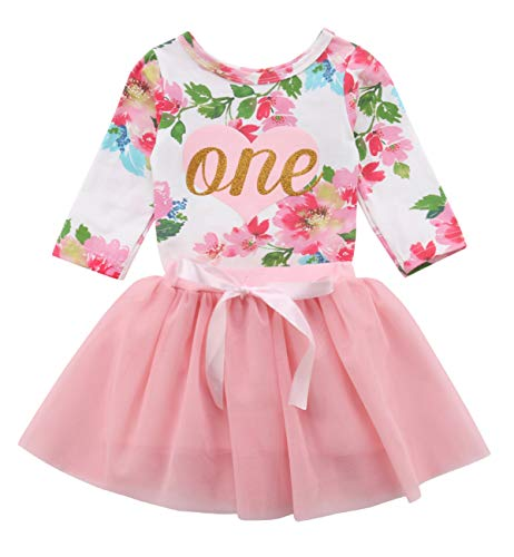 Baby Girls' 1st Birthday Tutu Dress Sleeveless Floral Romper Top Lace Skirt Clothes Easter Outfit 2Pcs (Pink-Long Sleeve, 6-12 Months)