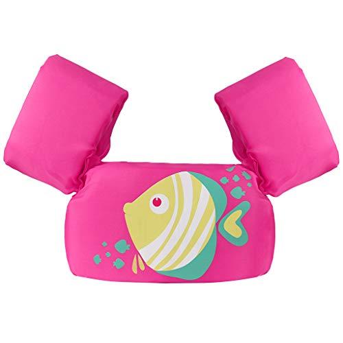 Gogokids Schwimmweste für Kleinkinder, Armbänder Kinderschwimmweste, Schwimmtrainingsjacke für 2-6 Jahre alte Jungen Mädchen (Pink Fish)