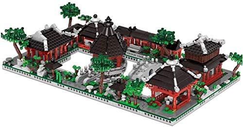 Spielzeug Modellbausätze 3D-Micro-Diamant-Bausteine Lernspielzeug 6 in 1 im chinesischen Stil Garten Gebäude Set Modellbausatz Architektur Spielzeug Souvenir for Kind und Erwachsen