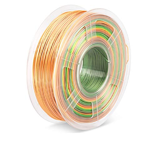 YANGDONG 3D-Filament-Seide-PLA-Druckermaterial, 1,75 Mm +/- 0,02mm 1kg, Mit Spulenseide-Textur, 3D-Druckmaterialien, Gute Zähigkeit (Color : Silk PLA Rinbow)