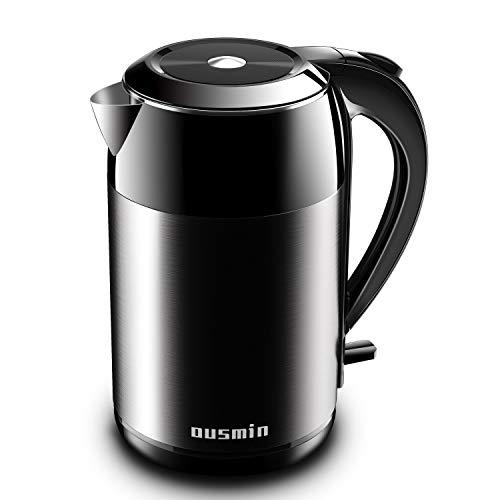 Wasserkocher (BPA-frei),1.8L 2200W Wasserkocher aus Lebensmittelgeeigneter Edelstahl Wasserkocher Doppelwand-Teekocher, Schnellkochender Wasserkocher,Automatische Abschaltung und Trockengehschutz