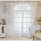 FACWAWF Simple Estilo Pastoral Bordado De Mariposas Suave, Transpirable Y Permeable A La Luz Sala De Estar Dormitorio Balcón Cortinas para Habitación De Niños 2x98x106in(250x270cm) WxH