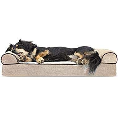 Furhaven Pet Dog Bed | Orthopedic Faux Fleece & Chenille Sofa-Style Couch Pet Bed for Dogs & Cats, Cream, Medium