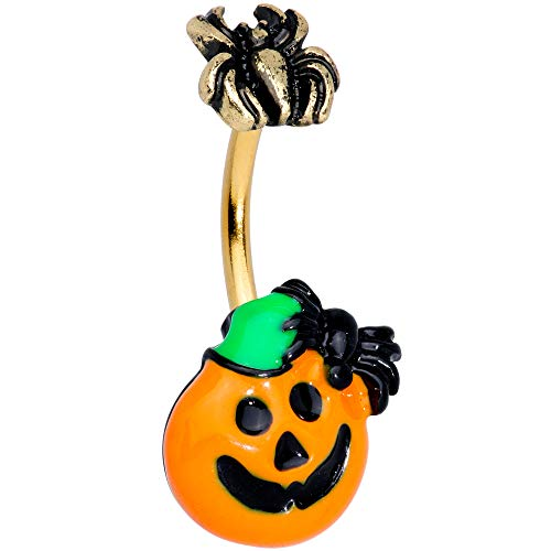 Body Candy Steel Spider Orange Pumpkin Double Mount Belly Button Ring