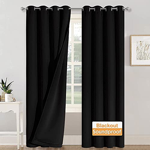 RYB HOME Soundproof Divider Curtains Blackout Curtains for Living Room Bay Window, Inside Felf Linings Insulted Heat Noise Shade Drapes for Sliding Glass Door, W 52 x L 95 inches, Black, 2 Pcs