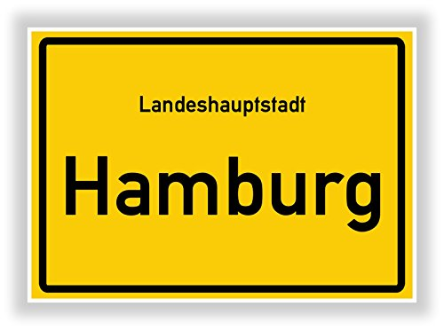 Unbekannt Ortsschild - Hamburg - Hauptstadt - Landeshauptstadt - Ortseingangsschild Deko Bild - Kunstdruck Poster