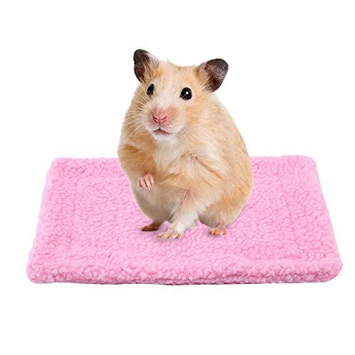 HEEPDD Kleinetier Bett Haus rechteckigen Plüsch warme Schlafen Matte Kissen Heimtier bedarf für Mäuse Ratten Chinchillas Kaninchen Igel Eichhörnchen Kleinetier Meerschweinchen Hamster (Rosa)