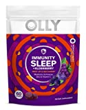 Olly Immunity Sleep Gummy Melatonin Elderberry Echinacea Zinc and Vitamin C Chewable Supplement Sleep Aid, Purple, Midnight Berry, 60 Count