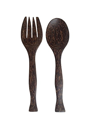 Wood For Décor Wooden Fork And Spoon Toddy Balm Salad Tool Set Big Natural Back Color Set of A Spoon and A Fork L11.2 x W1.5 x H 0.6 Inches
