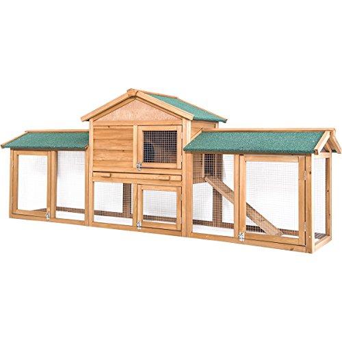 """Merax 85"""" Rabbit Hutch, Chicken Coop Wooden Hen Pet Bunny House Outdoor/Indoor"""