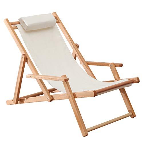 Sedia reclinabile da spiaggia, sedia da giardino, sedia a sdraio reclinabile in legno di faggio, seduta pieghevole con bracciolo, lunghezza 99 x larghezza 54 x altezza 74 cm, per interni ed esterni