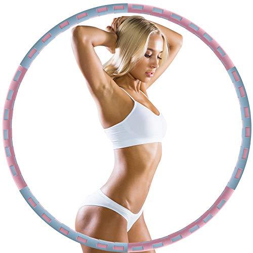 UJUJIA Upgraded Fitness Hula Hoop, Hula Hoop Reifen Erwachsene, Abnehmbarer Hoola Hoop Reifen von 1 bis 3,2kg, Verbesserter Edelstahlkern mit Dicker Premium Schaumstoff für Abnehmen, Fitness, Massage