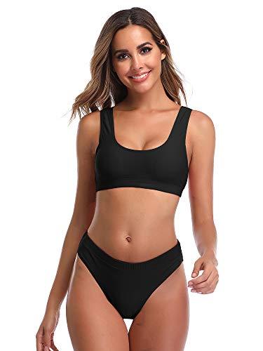 Summer Mae Damen Bikini Set Bustier Oberteil Zweiteile Sportliche Bademode Schwarz M