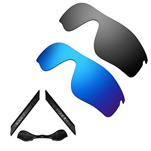 HKUCO For Oakley Radarlock Path Blue/Black Polarized Replacement Lenses And Black Earsocks Rubber Kit