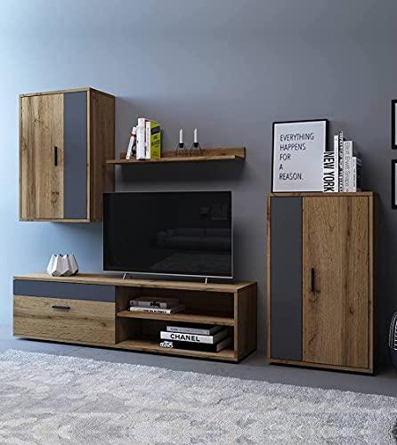 Home Heavenly® - Mueble salón Modular Bosco de 230 cm. Conjunto Completo Mueble TV + 2 vitrinas + Estante (Canadian-Grafito)